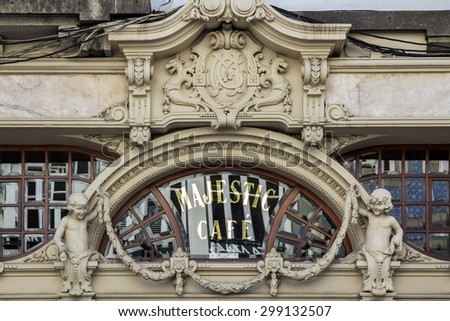 PORTO, PORTUGAL - JULY 04, 2015: The Majestic, historical coffee facade detail, first opened on December 17, 1921, it´s located in Santa Catarina, On July 04, 2015 in Porto, Portugal.