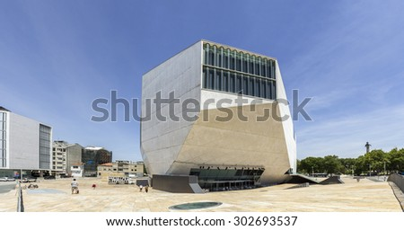 PORTO, PORTUGAL - JULY 05, 2015: View of Casa da Musica - House of Music Modern Oporto Concert Hall, designed by the Dutch architect Rem Koolhaas in Porto, Portugal on JULY 05, 2015.