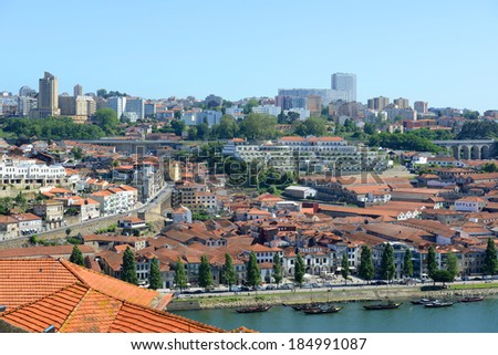 PORTO, PORTUGAL - JUNE 12: Vila Nova de Gaia on south bank of Douro ...