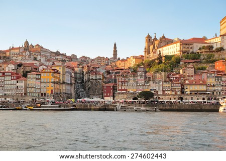 Porto, Portugal: view of the Ribeira historical quarter at sunset, over Douro river. Unesco World Heritage.
