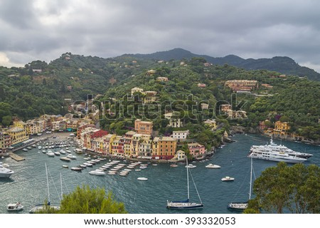 PORTOFINO,ITALY - JUNE 26, 2015. Stormy summer evening on the Mediterranean coast at Portofino ,famous destination in Italy.