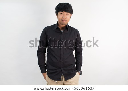 Portrait Asia Guy Black Shirt Smiling Stock Photo 568861672 ...