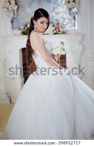 Portrait  beautiful bride with a bouquet of flowers. Wedding decoration