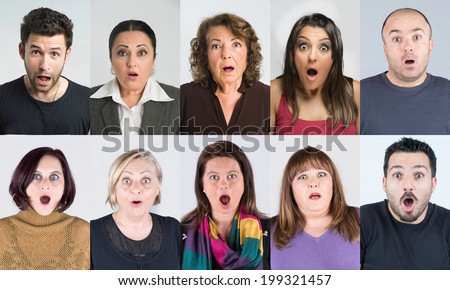 Portrait lot of ten people with shocked and amazed facial expression in group collection multiple faces
