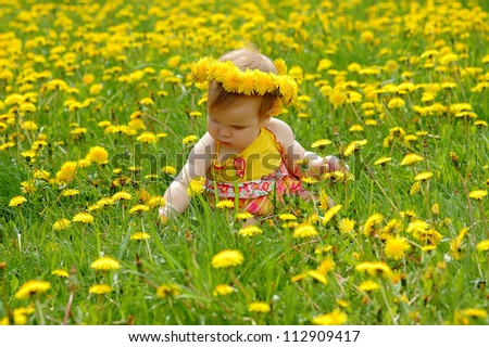 Portrait of a baby  in a dandelion wreath