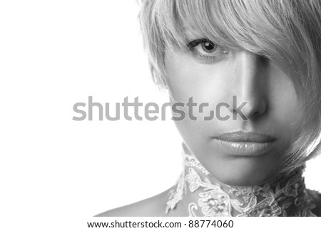portrait of a beautiful blue-eyed woman on a white background