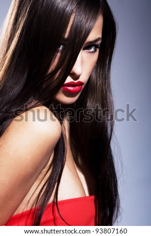 portrait of a beautiful woman with red lips,focus on lips