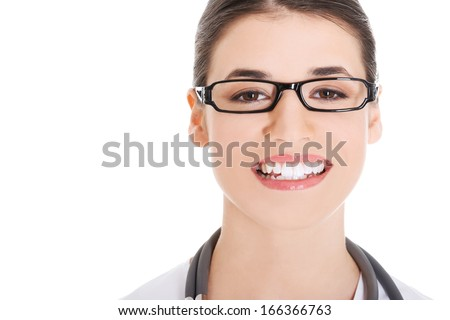 Portrait of a beautiful young doctor woman. Islated on white.