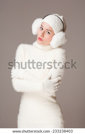 Portrait of a beautiful young winter fashion woman.