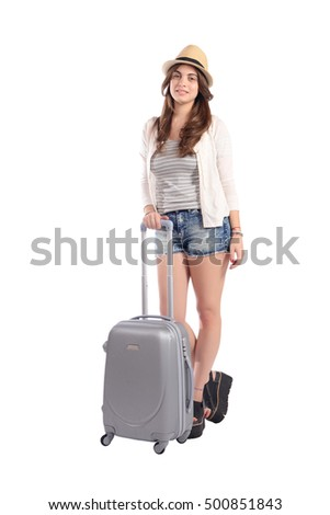 Portrait of a beautiful young woman with a suitcase going on vacation. Travel concept. Isolated white background.