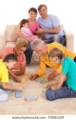 portrait of a big family playing at home