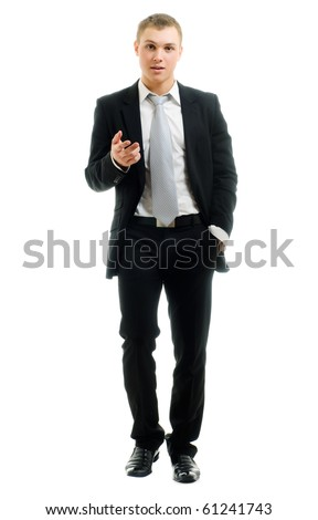 Portrait of a businessman isolated on a white background