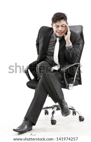 Portrait of a businessman sit and thinking