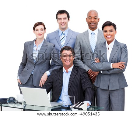 Portrait of a charismatic multi-ethnic business people working at a laptop in the office