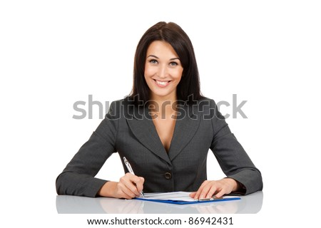 Portrait of a cheerful Business woman sitting on her desk holding a pen working with documents sign up contract isolated over white background