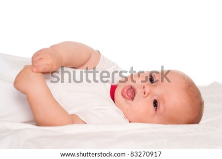 portrait of a cute baby on a white