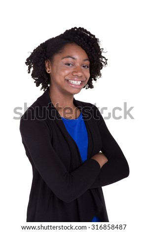Portrait of a cute black teenager smiling and standing with confidence. Isolated on white