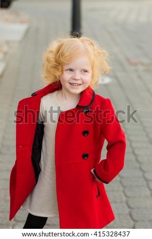 Portrait Cute Little Redhead Girl Red Stock Photo 415328545 ...