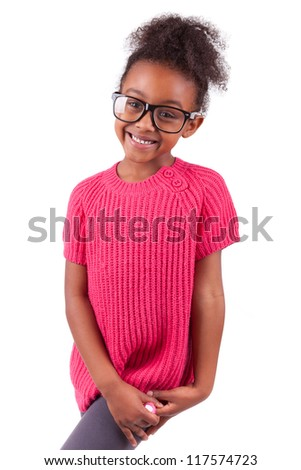 Portrait of a cute young African American girl,isolated on white background