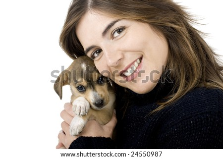 Portrait of a girl embracing her best friend, A beautiful and adorable puppy
