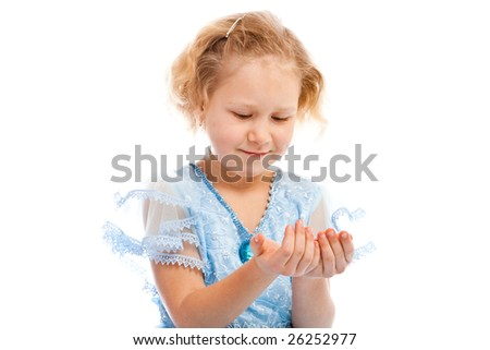 Portrait of a girl holding something in hands