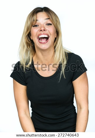 portrait of a girl laughing isolated on white background
