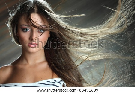 portrait of a girl with wind in her hair