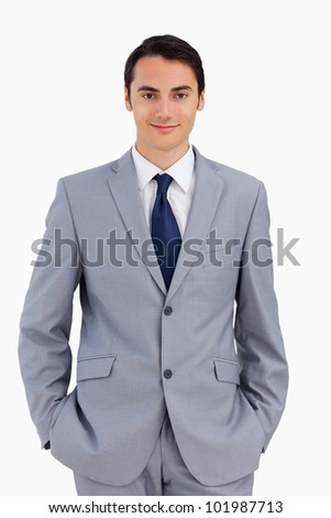 Portrait of a good-looking man against white background