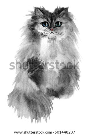 Portrait of a gray cute cat with blue colored eyes.