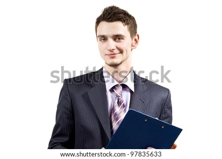 portrait of a handsome boy with a folder on an isolated background