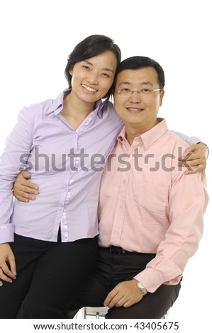 Portrait of a handsome mature man with his arms around his beautiful wife