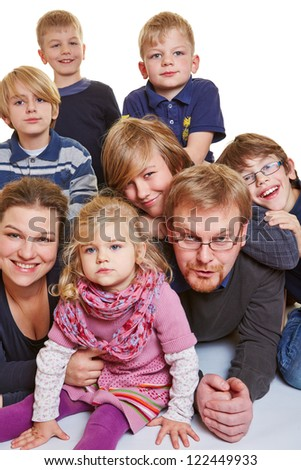 Portrait of a happy family with many children