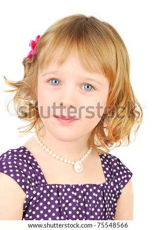 Portrait of a happy nice  little girl on the white background.