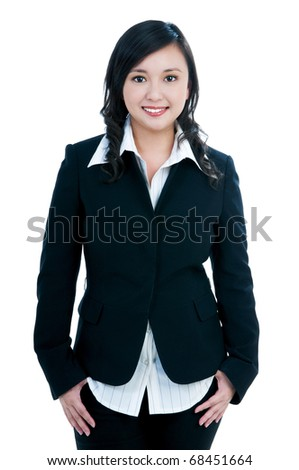 Portrait of a happy young businesswoman over white background.