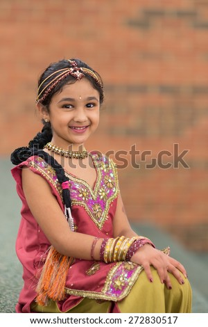 Portrait of a Little Girl in Traditional Indian Costume