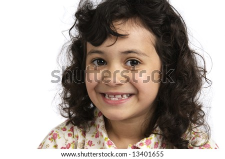 Portrait of a lovely girl on a white background.