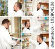 Portrait of a male pharmacist at pharmacy. Collage - stock photo