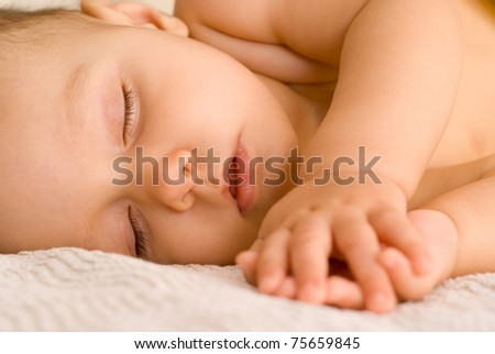 portrait of a nice baby on a white background