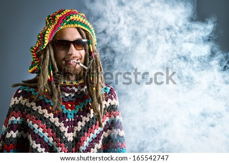 portrait of a rastafarian young portrait of a happy rastafarian