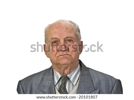 Portrait of a senior man isolated against a white background.