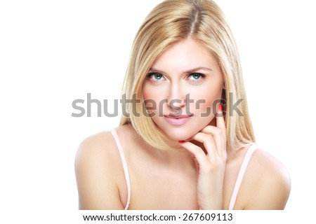 Portrait of a sensual beautiful young blond woman isolated on white background