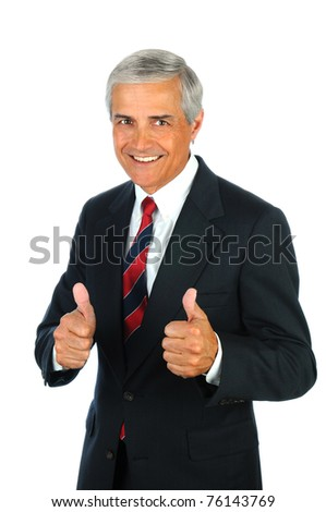 Portrait of a smiling senior business man with a two thumbs up hand gesture. Vertical format isolated on white.