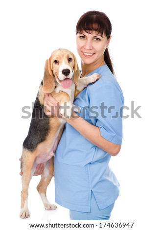 Portrait of a veterinarian with a dog. isolated on white background