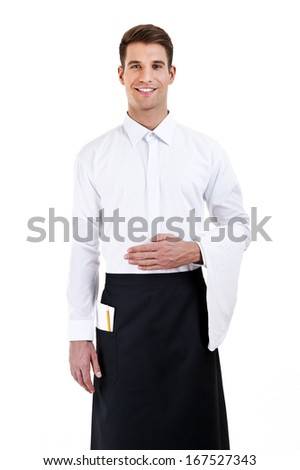 Portrait of a waiter with shirt over white background