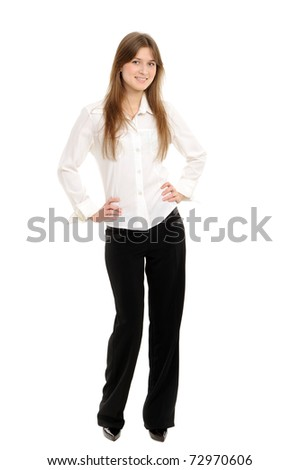 Portrait of a young attractive woman over white background