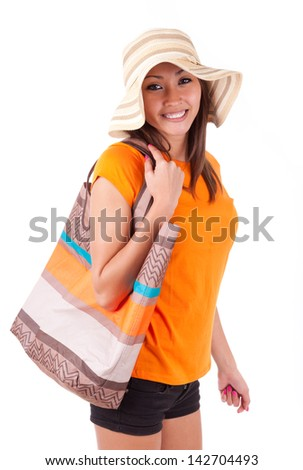 Portrait of a young beautiful asian woman in summer clothes isolated on white background - Asian people