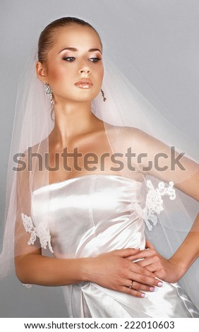 Portrait of a young beautiful bride with veil