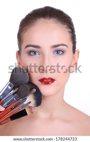 Portrait Young Pretty White Woman Beautiful Stock Photo ...