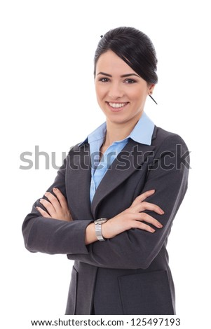 Portrait of a young business woman isolated on white