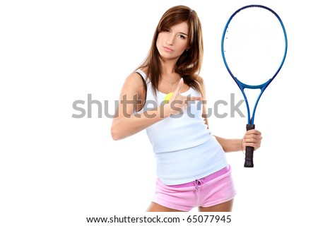 Portrait of a young girl with a tennis racket. Isolated over white background.